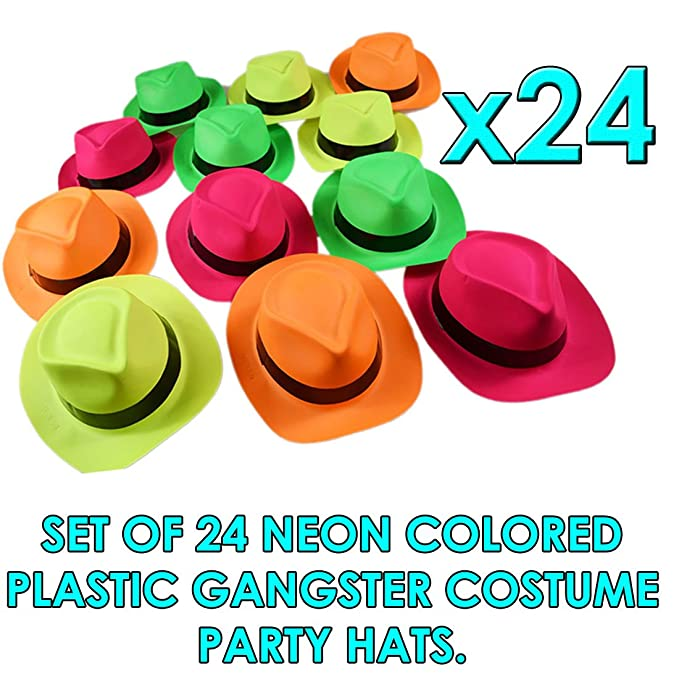d9752da76 Neon Plastic Gangster Hats - 24 Pack - Dress Up Party Favor - Assorted  Colors