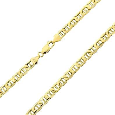 États Unis super qualité nouvelles photos 18 Carat Collier Italien marine plat en or jaune 750/1000 -Unisexe -  Largeur 3mm