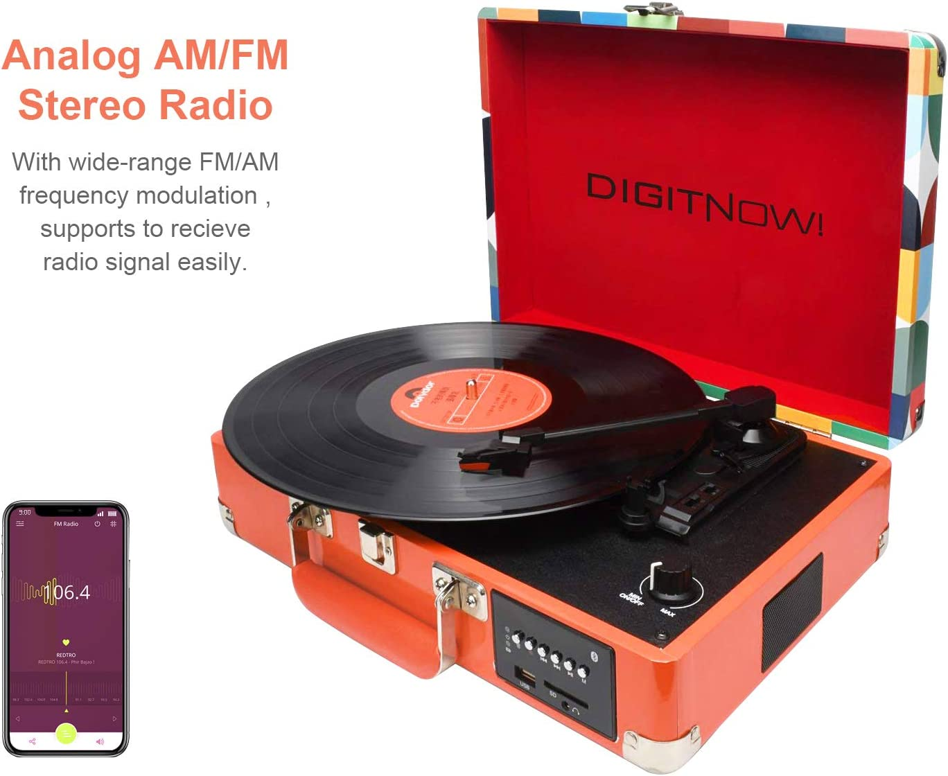 DIGITNOW! Tocadiscos Bluetooth Plato giradiscos Plato Vinilo ...
