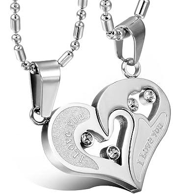 ca39f1ffe11 Odiea Pendentif Collier Homme Femme Pendentif Fantaisie Coeur Amour Puzzle  I Love You Couleur Argent en Acier Inoxydable Cristal Artificiel 2 Pcs pour  ...