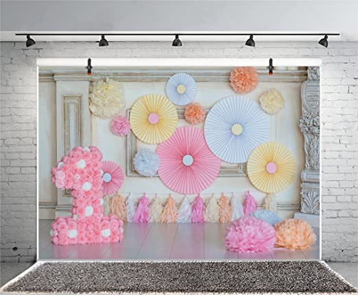 Haoyiyi 6x4ft Spells ONE Letters First Birthday Backdrop White Wood Wall Pink Flowers Background Photography Photo Boy Girl Pictures Cake Smash Baby Shower Supplies Decorations Photoshoot Portrait