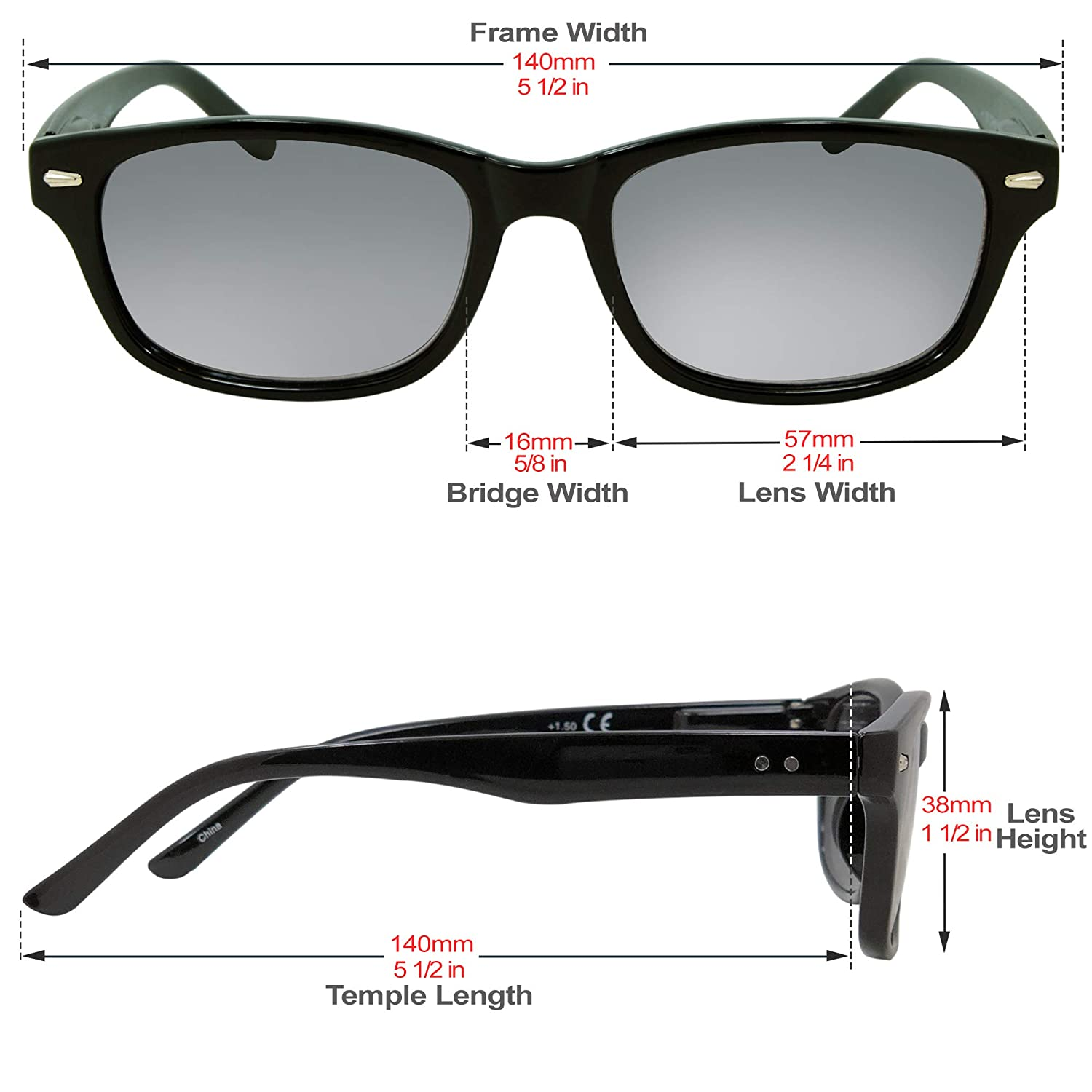 a4a794bcf469 Amazon.com: In Style Eyes Insight, Classic Full Reader Sunglasses. Not  BiFocals Black 1.00: Clothing