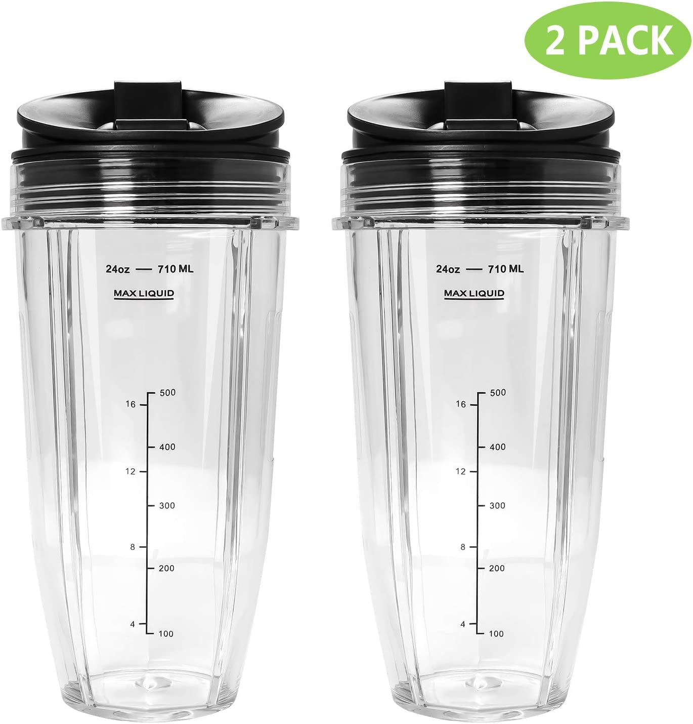 Ninja 24 Oz Replacement Cups with Sip & Seal Lids, Ninja Replacement Cup Compatible with BL450 BL454 BL456 BL480 BL481 BL482 BL490 BL640 BL642 BL682 for Nutri Ninja Auto IQ Series Blenders (2 Pack)