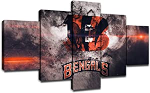 Cincinnati Bengals Team Logo Wall Decor Art Paintings 5 Piece Canvas Picture Artwork Living Room American Football Prints Poster Decoration Wooden Framed(60''Wx32''H)
