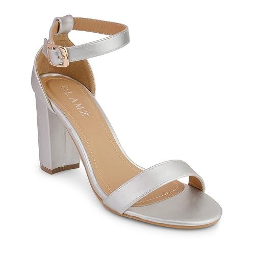 Silver Block Heel Sandals: Amazon.co.uk