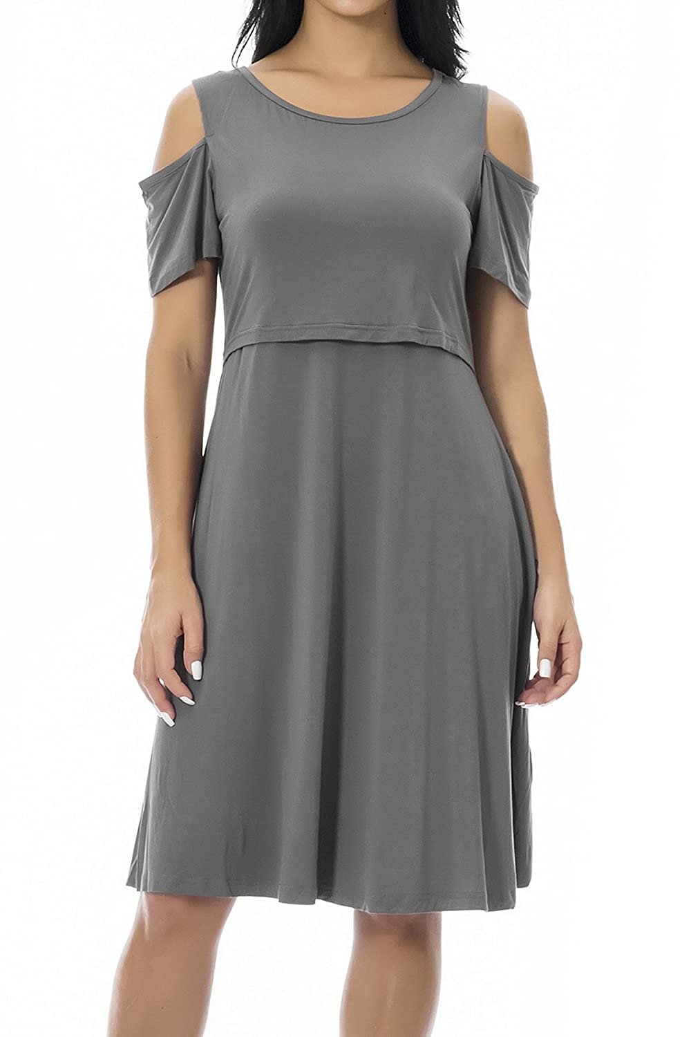 82f32a18c384c Lift up the flap to nurse,easy for breastfeeding. Great dress for dressing  up or down,perfect for hiding the postpartum belly. Cold shoulder ...