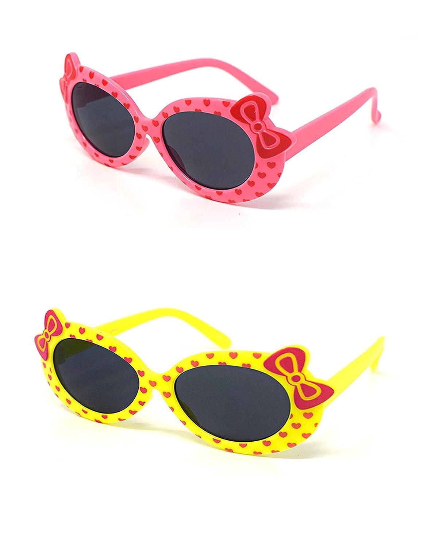 1 x rosa 1 x niños de colores amarillos niñas niños elegantes estilo de diseño lindo gafas de sol de alta calidad con un arco y el corazón estilo UV400 gafas de sol gafas de protecció