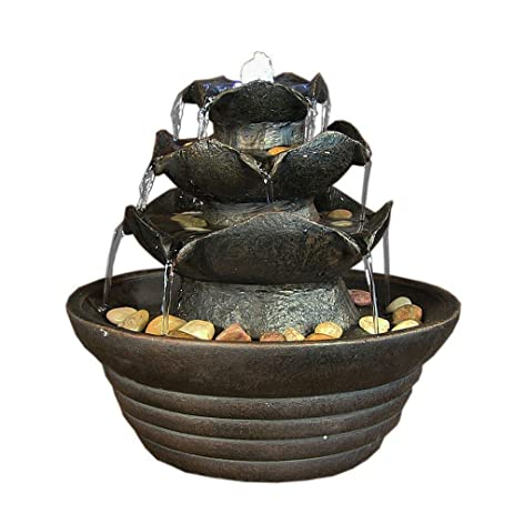 Sunnydaze Black Three Tier Cascading Small Tabletop Fountain With LED  Lighting, 9 Inch