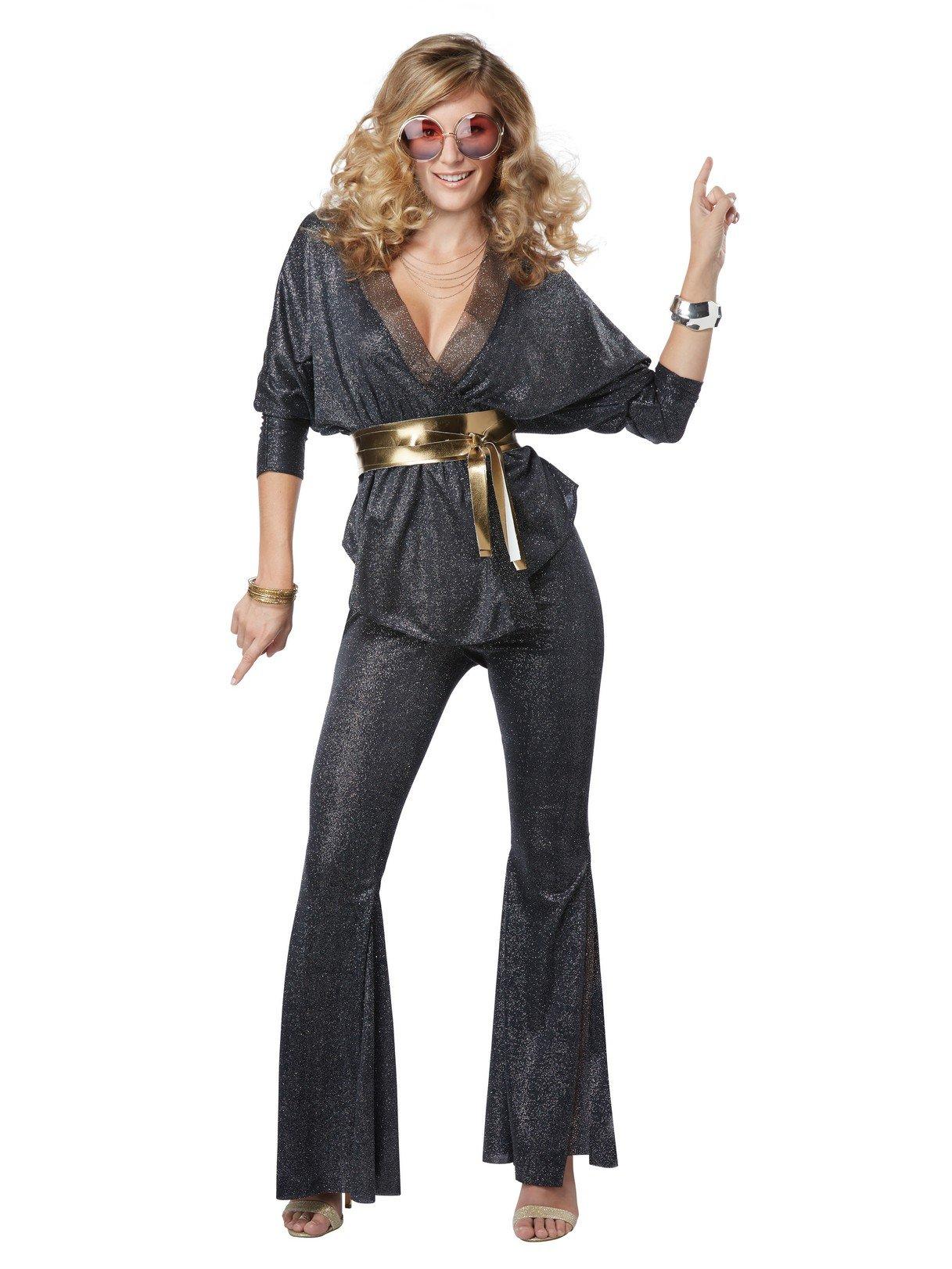 California Costumes Women's Disco Dazzler Adult Woman Costume, Black/Gold, Large