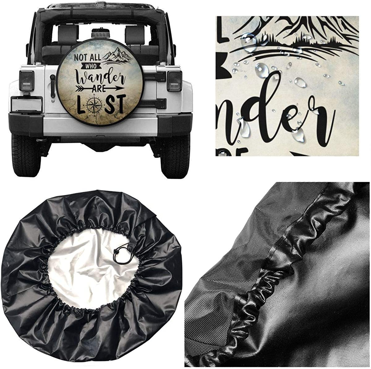 YZ-MAMU Not All Those Who Wander are Lost Spare Tire Cover Waterproof for Jeep Trailer RV SUV Truck Camper Travel Trailer Accessories