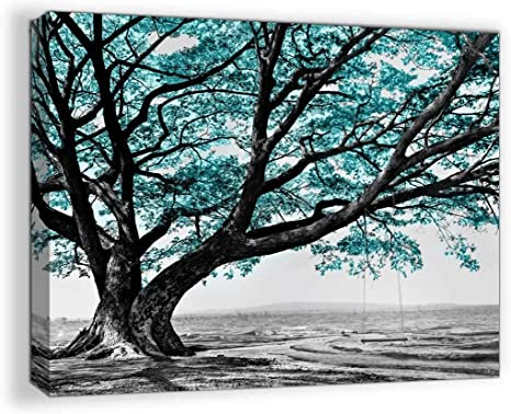 Amazon Com Teal Rustic Bathroom Decor For The Home Bedroom Black And White Tree Pictures Country Kitchen Wall Modern Canvas Framed Art Landscape Artwork Walls Decoration Size