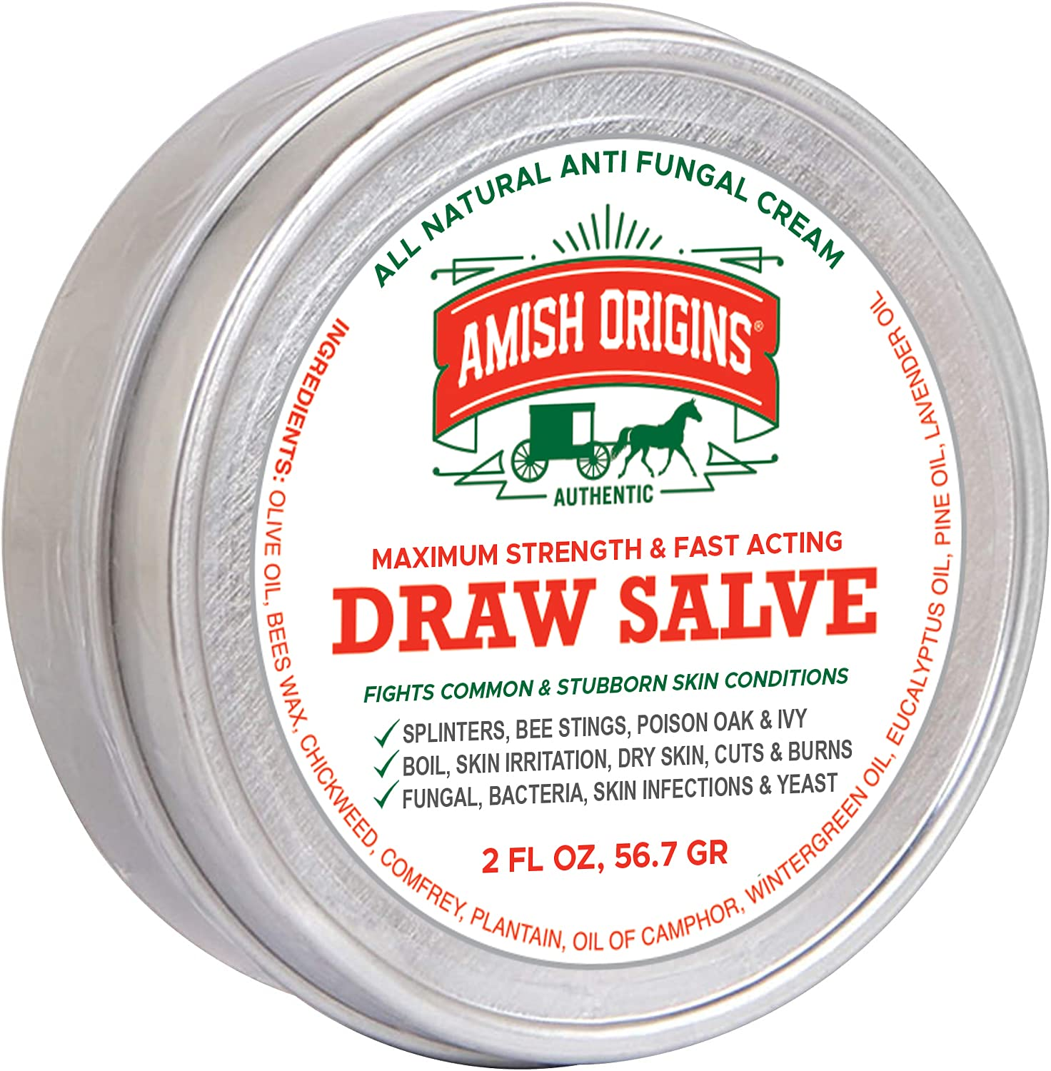 Drawing Salve Ointment 2 fl oz, Boil Treatment, Anti fungal Cream, Itch Cream, Draw Salve for Splinters, bee stings, Poison Oak & Ivy, Skin Irritation, Dry Skin, cuts & Burns, by Amish Origins