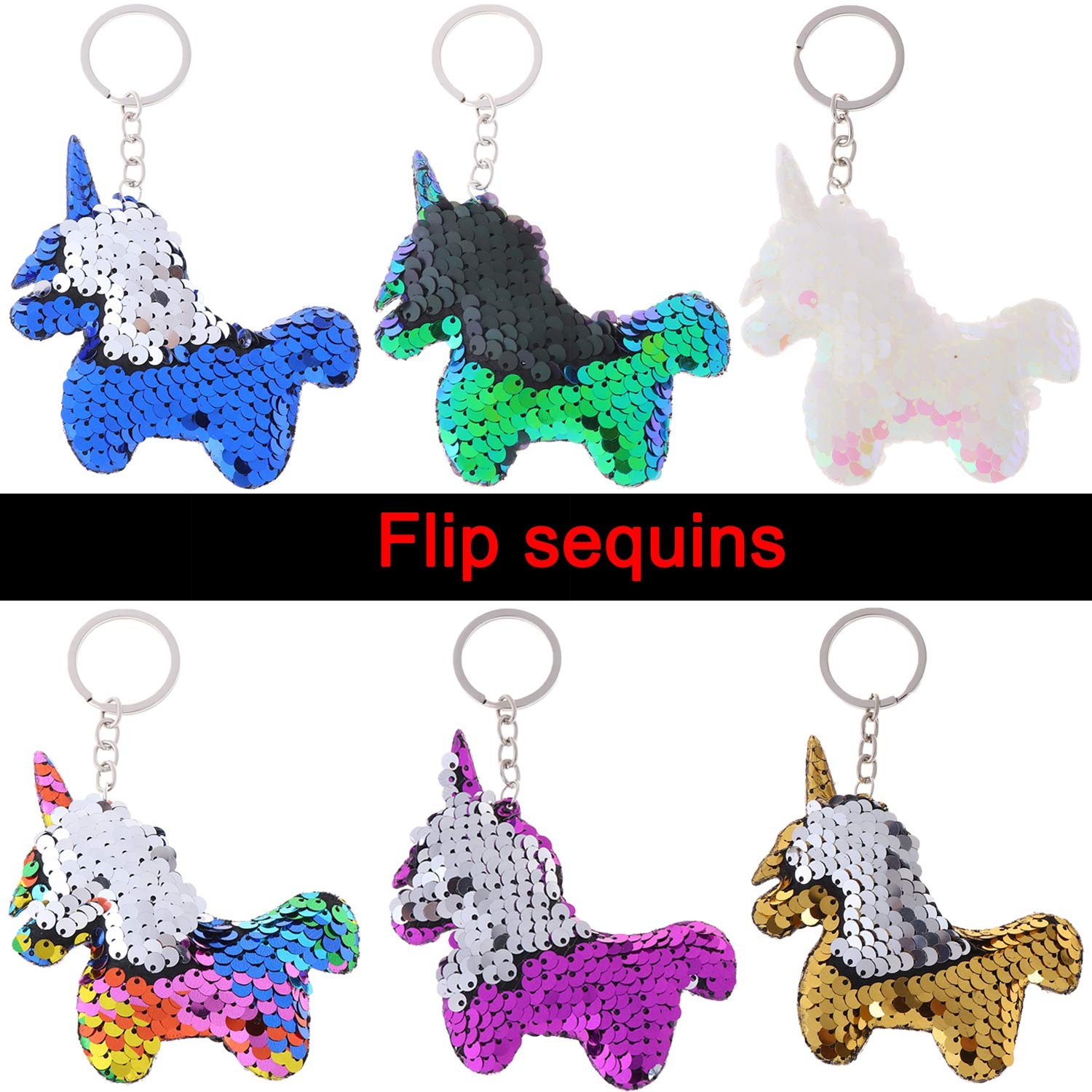 Meimeida 24 Pieces Flip Sequin Keychain Unicorn/ Keychain Decorations For Unicorn Party Supplies Keys Handbags Wallets Kids Party Favors