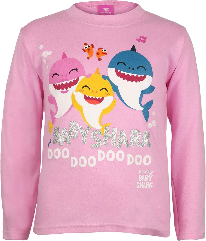Baby Shark and Family Chicas Manga Larga Camiseta/ mercanc/ía Oficial