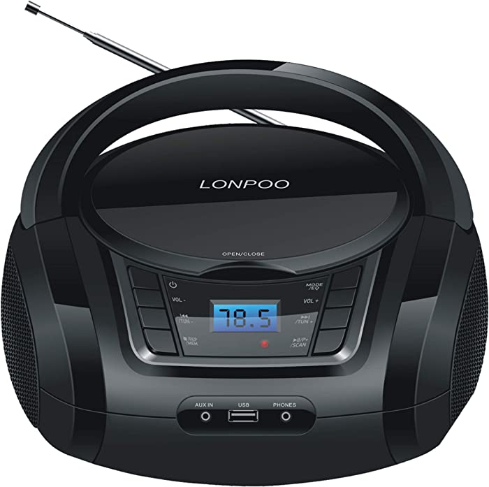 LONPOO CD Player Portable Boombox with FM Radio/USB/Bluetooth/AUX Input and Earphone Jack Output, Stereo Sound Speaker & Audio Player,Black