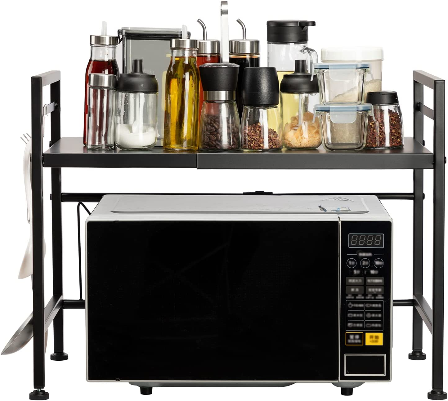 AbocoFur Expandable and Height Adjustable Microwave Oven Rack, 2-Tier Metal Kitchen Counter Toaster and Rice Cooker Stand, Heavy Duty Tableware Storage Shelf with 3 Hooks, 15.7