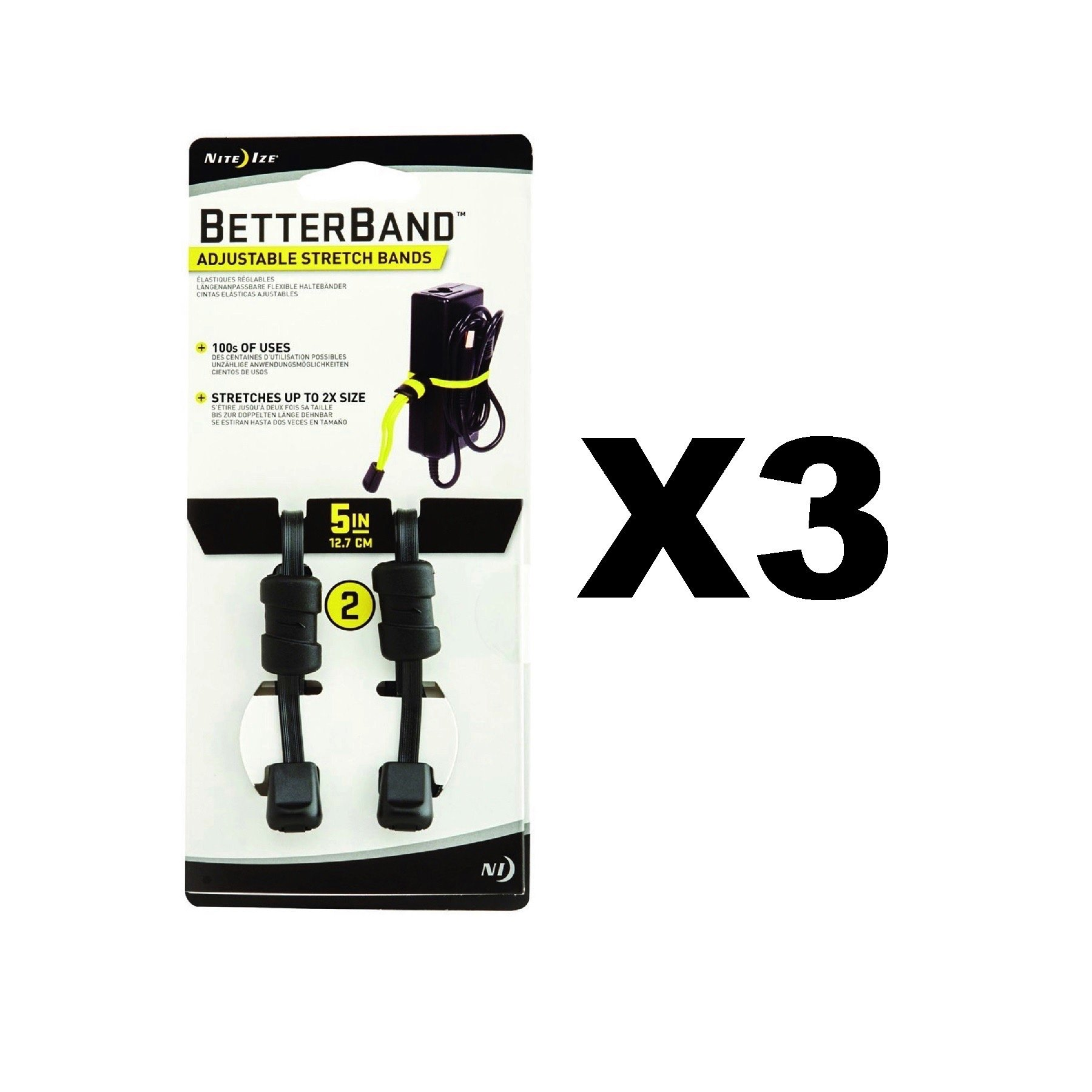 Nite Ize BetterBand 5'' Black Adjustable Stretch Bands Durable Laces(3-Pack of 2)