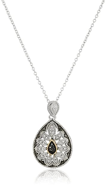 Amazon sterling silver and 14k gold black diamond pear shaped amazon sterling silver and 14k gold black diamond pear shaped art deco pendant necklace 18 jewelry mozeypictures Image collections