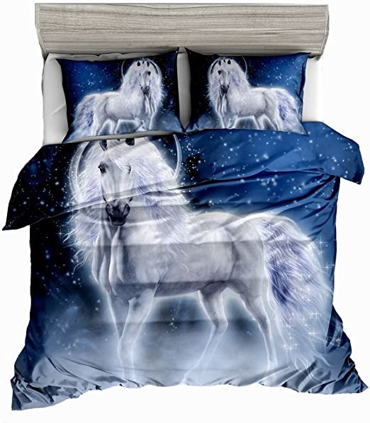 3D Pegasus Unicorn Bedding Set Duvet Cover Pillowcases Comforter Full Size