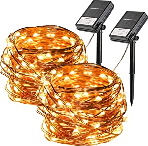 2 Pack Solar String Lights, 33ft 100 Led Solar and Battery Powered Outdoor String Lights Waterproof Fairy Lights with 8 Modes Copper Wire Lights for Xmas Tree Garden Homes Ambiance Wedding Lawn Party