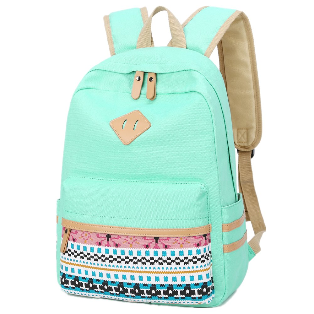 Laptop School Backpack Girls Bookbags Schoolbag for Teens University Travel Daypack (A3-Mint Green)