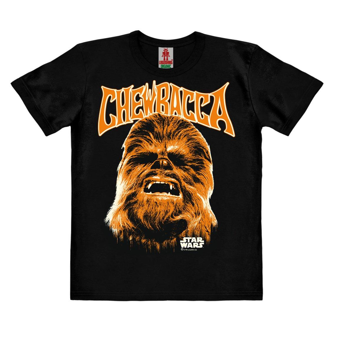 Wookiee Maglietta Organico per Bambini Nero Design Originale Concesso su Licenza Chewbecca Faccia T-Shirt Logoshirt Star Wars