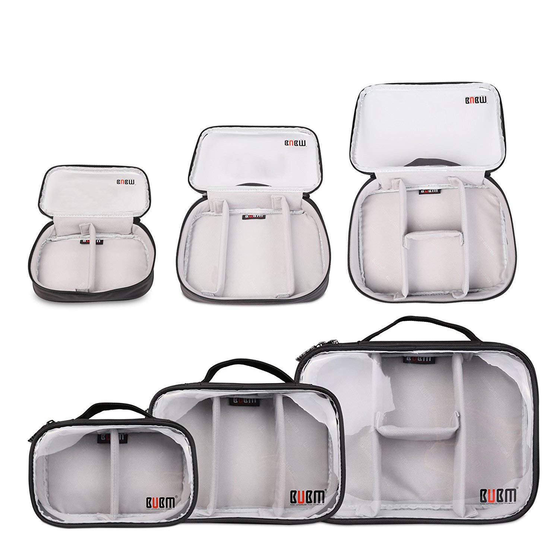 BUBM 3pcs/set Waterproof Portable Travel Organizer Handbag Cosmetic Bag Make up Case Camera Table Phone Cable Charger Carrying Case Black BUBM-Three sets-Black