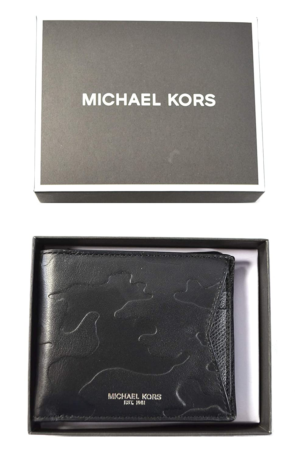 5919ac1cc41f Amazon.com  Michael Kors Camden Mens Billfold Wallet with ID Card Case ( Black)  Home   Kitchen