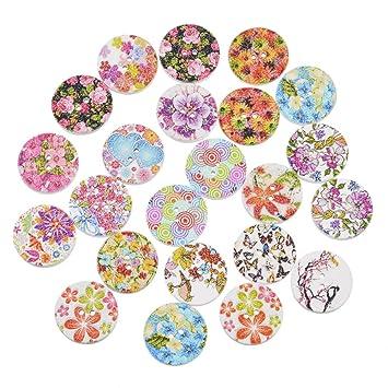 Souarts 100 Gemischte Blumen Holzknopf Zwei Löcher Holz Knöpfe Kleidung  Deko DIY Basteln Nähen