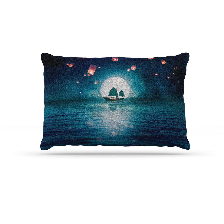 KESS InHouse Viviana Gonzalez Travel Through The Lights bluee orange Digital Dog Bed, 50  x 40