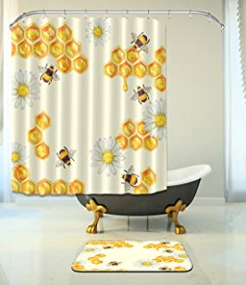 LB Honeybee Waterproof Fabric Home Decor Shower Curtain With Bathroom Mat