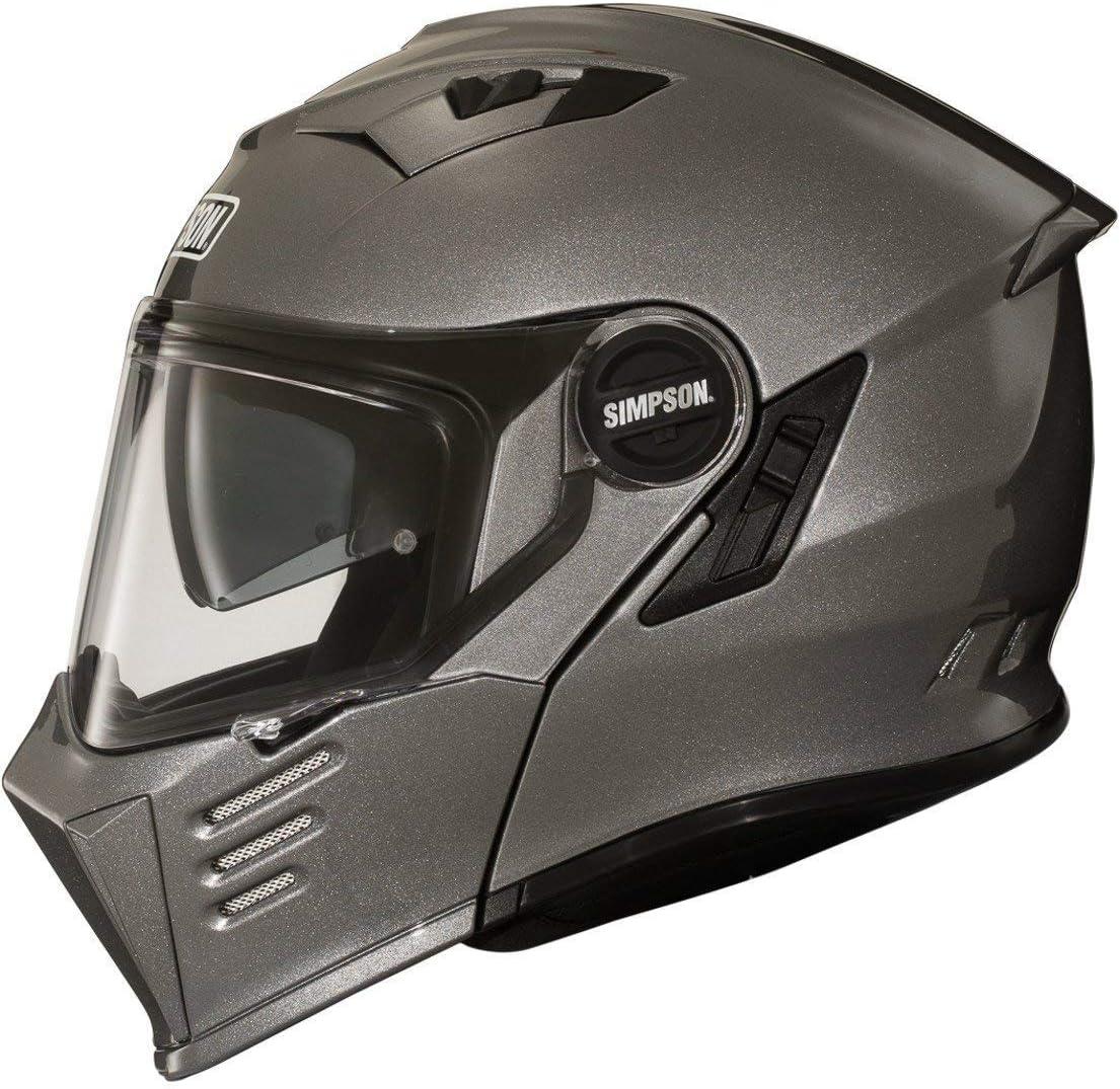 Simpson Darksome Solid Motorrad Klapphelm Silber M