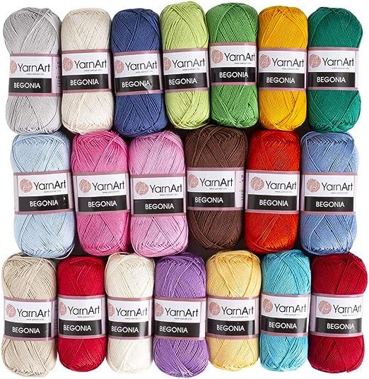 Hilo de Begonia de 20 madejas, 100% algodón mercerizado, cada uno de 50 g / 185 yardas (169 m), Fine Sport: 2, versión 2: Amazon.es: Hogar