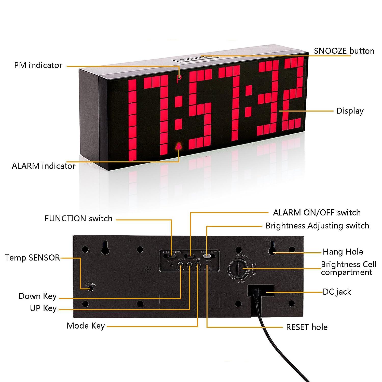 Leadleds Blue LED Digital Large Big Wall Desk Alarm Clock Countdown Timer with Calendar Temperature