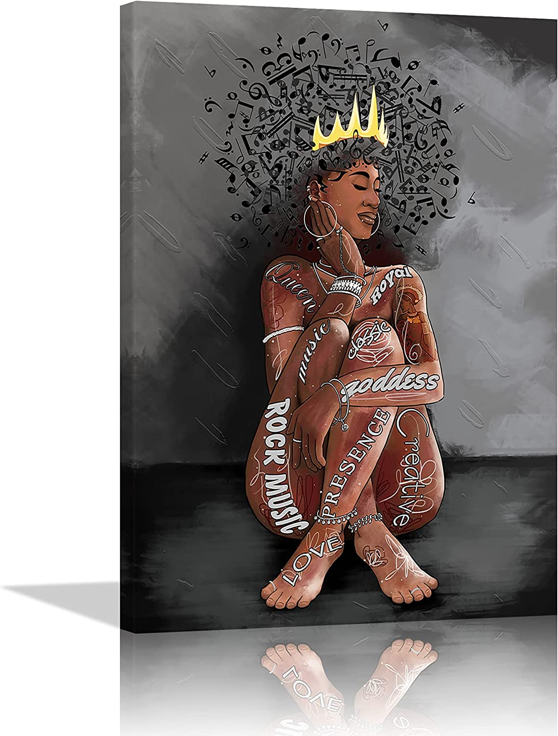 Black Queen Music Hair Wall Art Abstract Canvas African Women Bedroom Office Artwork Painting Music Note Wall Decor Love Music and tattooed Girl Poster Contemporary Home Decor Framed Ready to Hang
