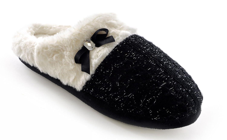 cacf193f0fb0 Ladies Cable Knit Lurex Plush Line Mule Slippers Glitter Faux Fur Slumberz  (UK 7/8 EUR 40/41, Black): Amazon.co.uk: Shoes & Bags