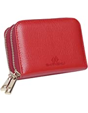 (red) - Purses for Women, SHANSHUI Genuine Leather Coin Purse RFID Credit Card Wallet with 2 Metal Zipper 12 Card Slots Red - GIFT BOX