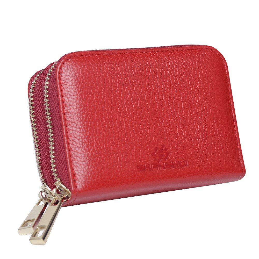 SHANSHUI Damen Kreditkartenetui aus echtem Leder mit RFID Schutz Braun walt10-brown