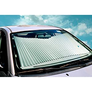Dash Designs 23 inch Universal Fit Retractable Auto Windshield Sunshade for Ford F-150 Trucks, Most SUV, Honda Civic