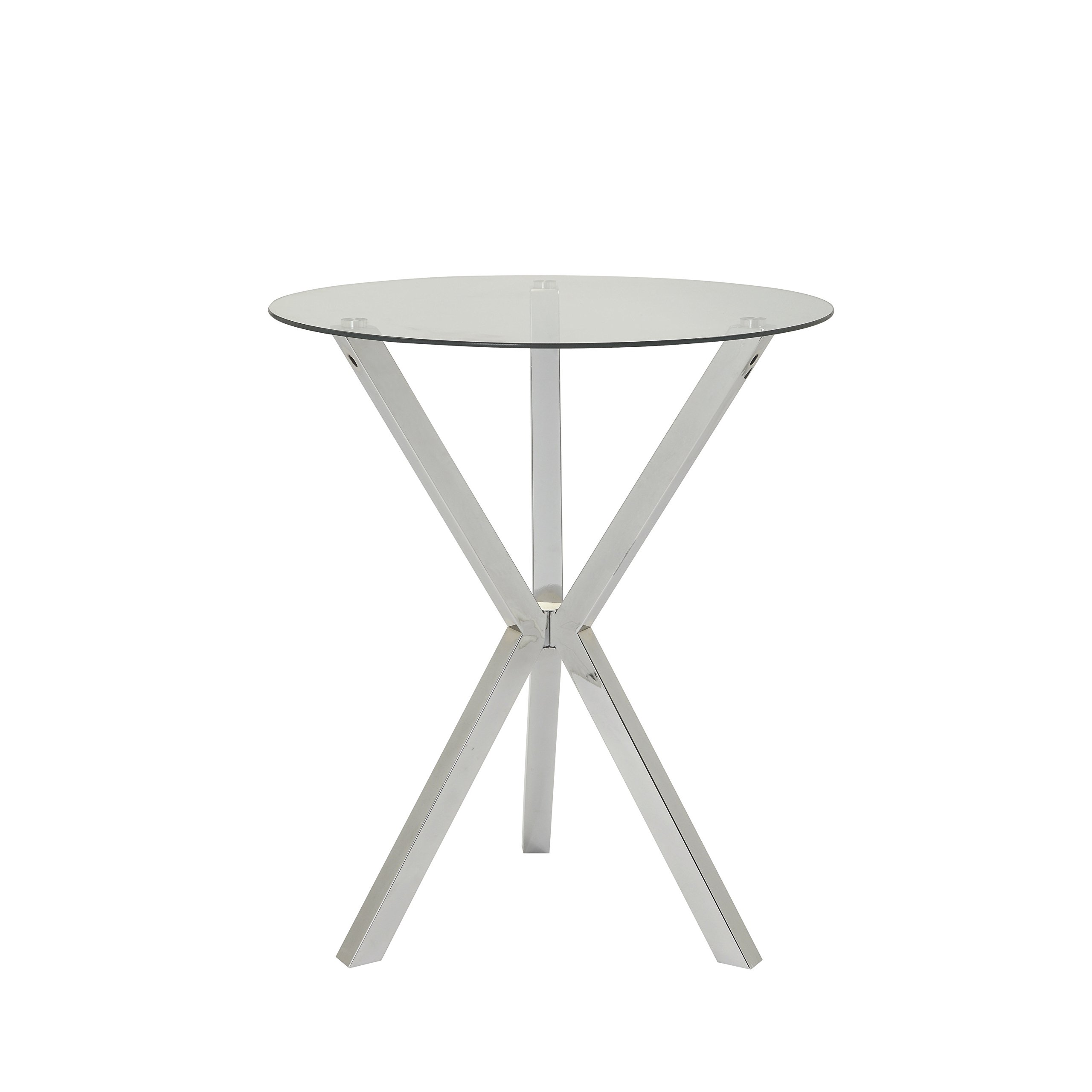 Round Pub Table with Glass Top and X-Shaped Base Chrome and Clear by Coaster Home Furnishings