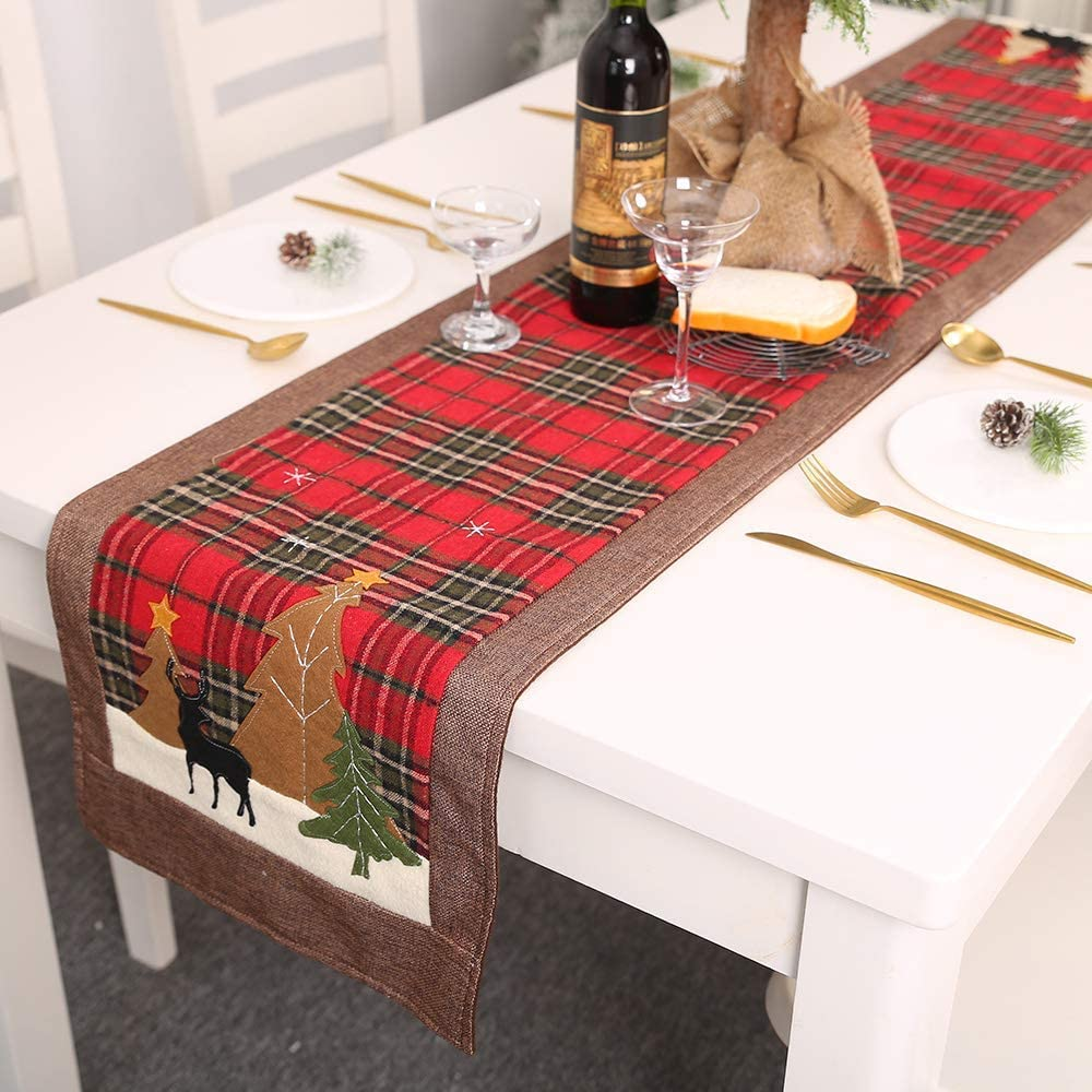 IXI Christmas Table Runner Reusable Christmas Tree Elk Printed Lattice Tablecloth Table Mat Cover for Holiday Christmas Dinner Table Decorations