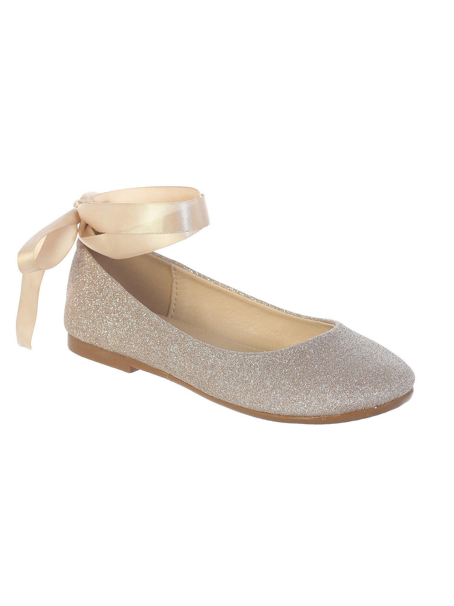 Girls Rose Gold Glitter Satin Ribbon Ankle Ties Ballerina Shoes 3 Kids