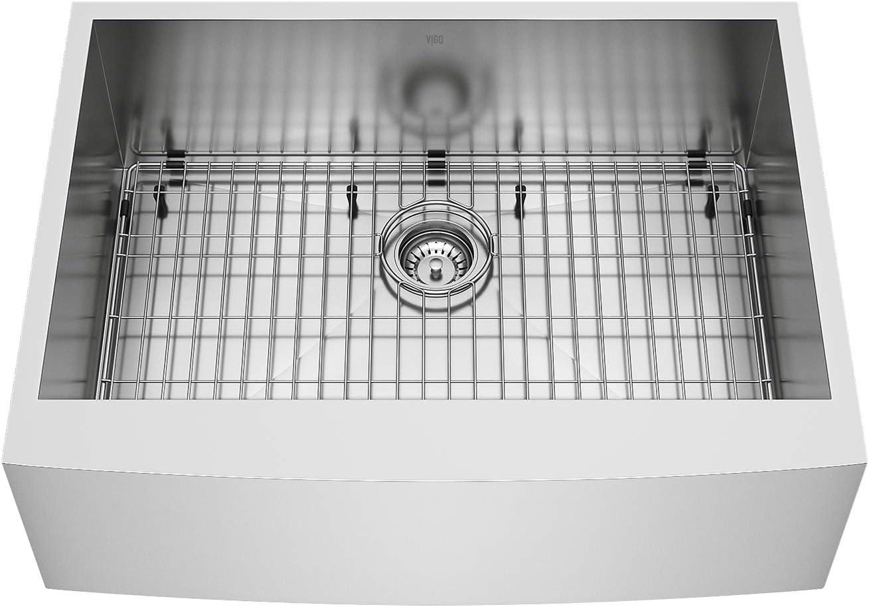 Vigo Vg3020ck1 22 25 L 30 0 W 10 5 H Handmade Camden Stainless Steel Single Basin Standard Undermount Apron Front Farmhouse Kitchen Sink With Bottom Grid Drain And Strainer Single Bowl Sinks Amazon Com