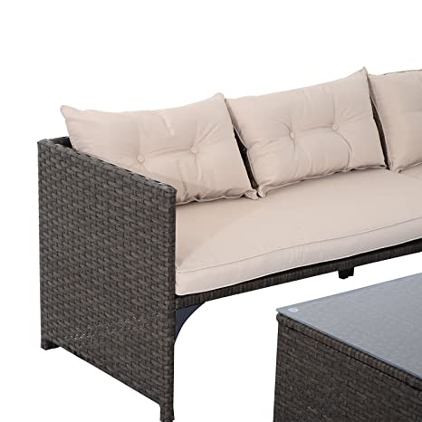 Amazon.com : Outsunny 3 Piece Outdoor Rattan Wicker Sofa And Chaise Lounge  Set   Brown And Tan : Patio, Lawn U0026 Garden