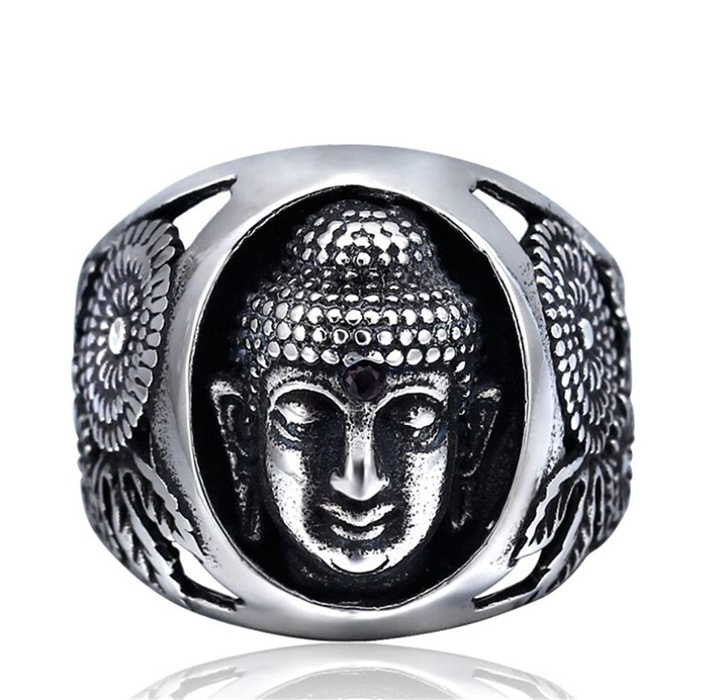 TIDOO Jewelry Punk Series Mens Vintage Gothic Biker Ring The Buddha Chrome Hearts Style Antique Black Silver 316L Stainless Steel Crystals Wide Cast Rock Finger Band Best Gift For Cowboy Knight Cavalier Chevalier Party Hallow