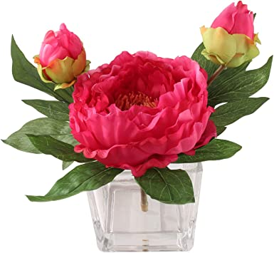 Amazon Com Handcrafted Artificial Peony Silk Flower Arrangement In Vase Real Look Fuchsia Silk Perennial Peonies Lush Layers Of Petals Combine Deep Hues Of Fuchsia And Raspberry For A Beautiful Natural