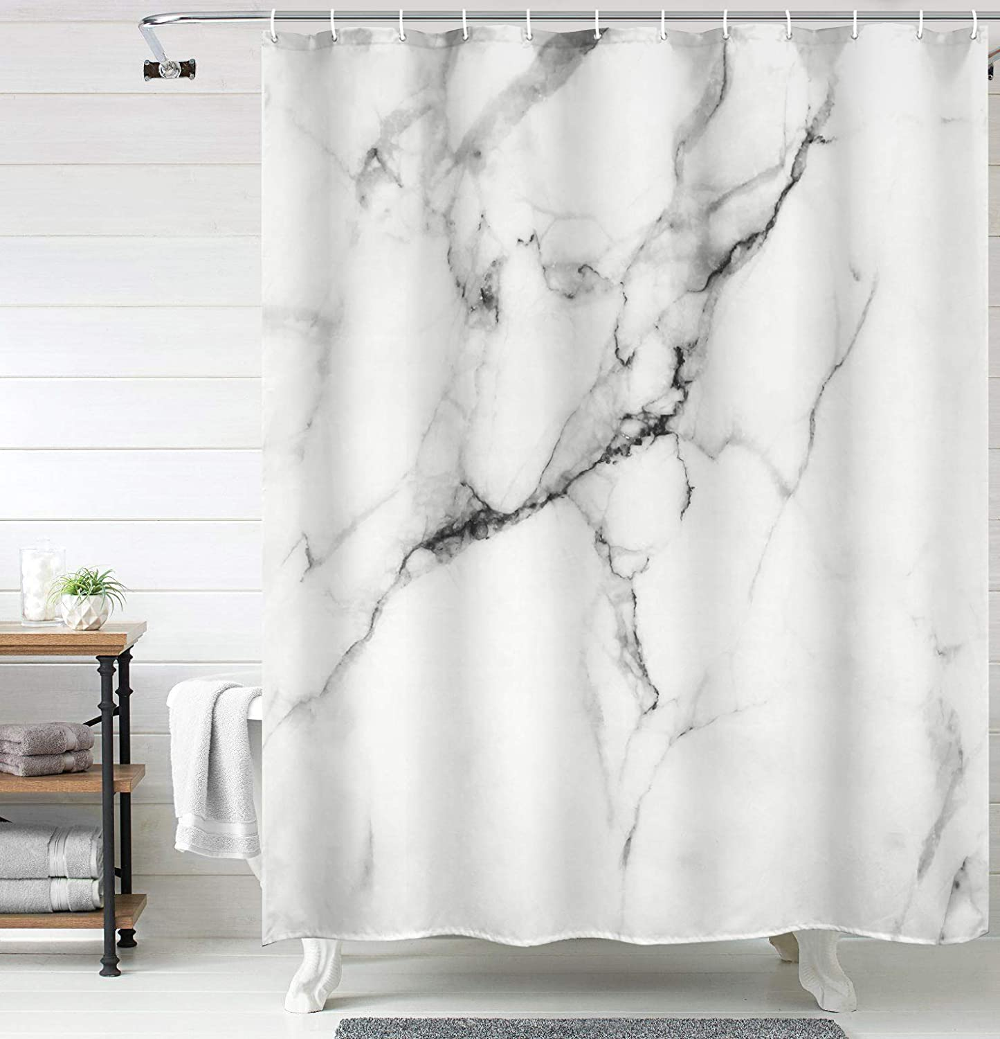 Uphome Marble Fabric Shower Curtain Extra Long White and Grey Cloth Shower Curtain Set Chic 3D Crack Design with Heavy Duty and Water Repellent Modern Bathroom Hotel Bathtub Decor 72x75