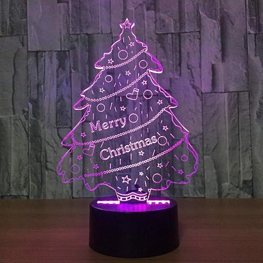 wangZJ 7 colores cambian 3D árbol de Navidad lámpara de mesa ...