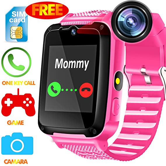 Kids Phone Smart Watch - [Speedtalk SIM Included] Kids Smartwatch for Girls Boys with HD Touch Screen SOS Cell Phone Camera Game Alarm Clock Digital ...