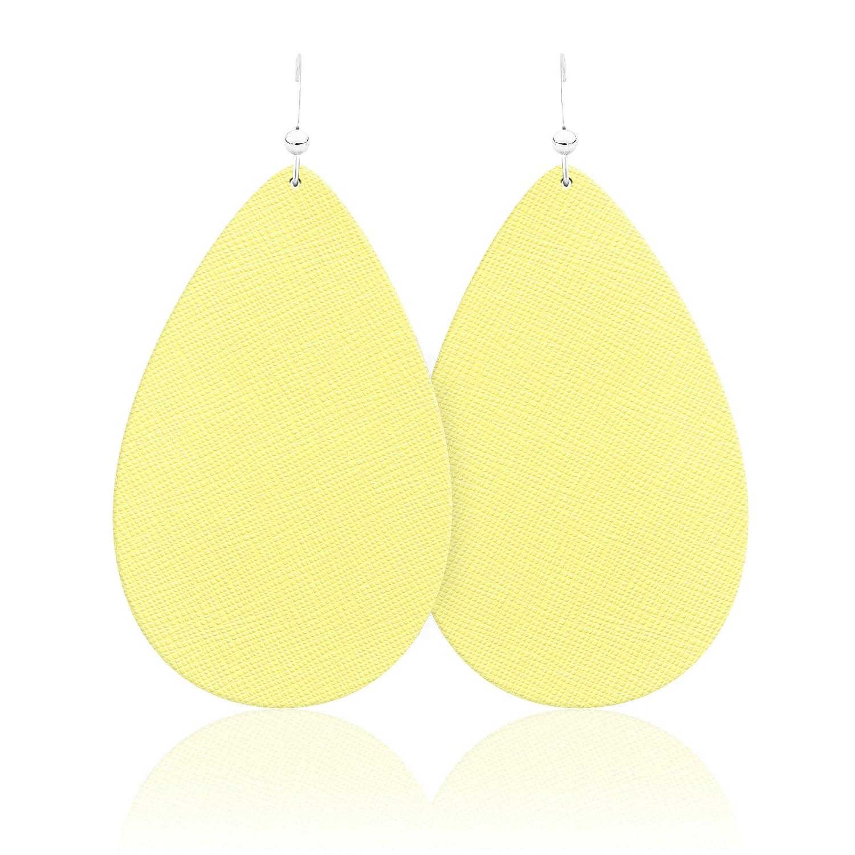 Double-sided Earrings Triple Teardrop Flat Charm Yellow Textured Faux Leather Earrings Teardrop Earrings Teardrop Dangle Earrings